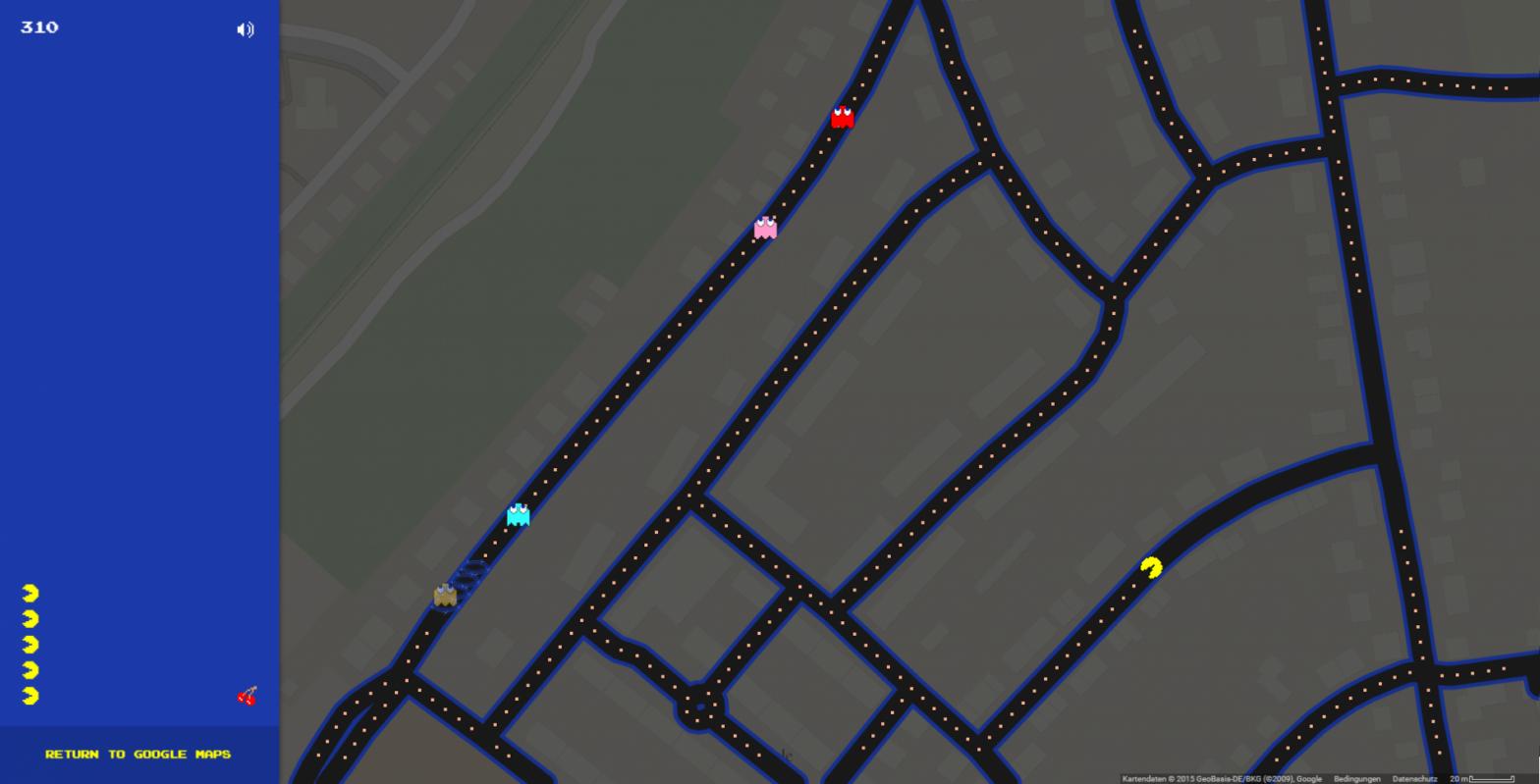 Pac-Man in Google Maps spielen